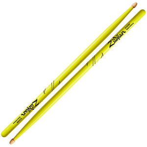 Zildjian Hickory 5A Acorn Wood Tip Drumsticks - Neon Yellow